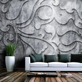 Fototapet Bimago - Silver background with floral pattern + Adeziv gratuit 200x154 cm