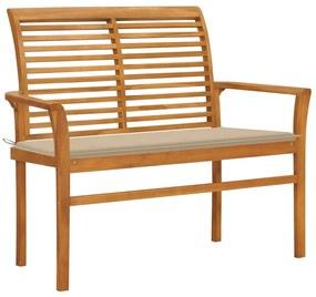 3062652 vidaXL Bancă de grădină, cu pernă bej, 112 cm, lemn masiv de tec