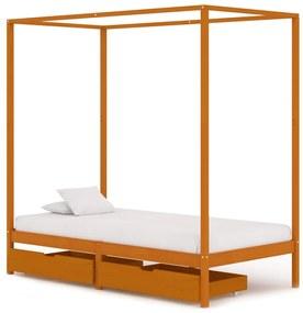 3060537 vidaXL Cadru pat cu baldachin, 2 sertare, 90x200 cm, lemn masiv pin
