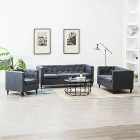 275631 vidaXL Set canapele Chesterfield, 3 piese, gri, tapițerie țesătură