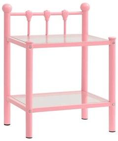 325075 vidaXL Noptieră, roz și transparent, 45x34,5x60,5 cm, metal și sticlă