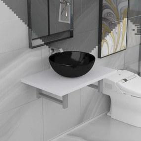 279342 vidaXL Set mobilier de baie, 2 piese, alb, ceramică