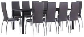 3053139 vidaXL Set mobilier de bucătărie, 11 piese, gri, piele ecologică