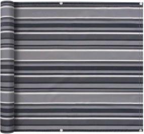 Prelată balcon, material Oxford, 90x600 cm, dungi gri