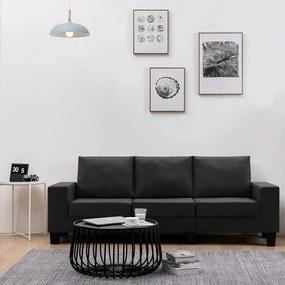 287126 vidaXL Canapea cu 3 locuri, negru, material textil