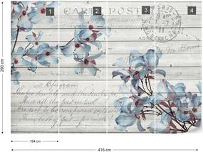 Fototapet GLIX - Blue Flowers Vintage + adeziv GRATUIT Tapet nețesute  - 416x290 cm