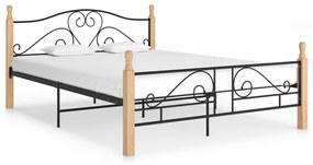 324942 vidaXL Cadru de pat, negru, 140 x 200 cm, metal