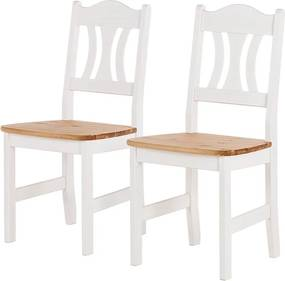 Set de 2 scaune Bastide din pin masiv lacuit, alb, 44 x 92 x 45 cm