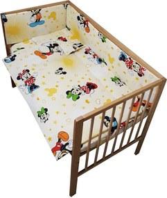 Lenjerie patut Mickey si Minnie 4 piese crem