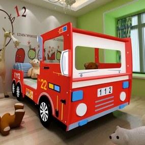 Pat copii mașină pompieri, cu saltea, 200x90 cm