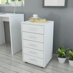 243064 vidaXL Dulap de birou cu rotile și 5 sertare, alb