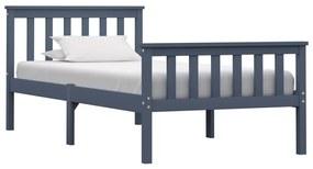 283226 vidaXL Cadru de pat, gri, 90 x 200 cm, lemn masiv de pin