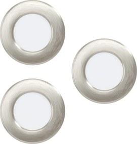 Set 3 spoturi incastrate FUEVA 5, EGLO, LED, 3X2.7W, 3x300lm, lumina calda, otel, nichel mat, plastic, alb, 8.5 x 7.5 x 3 cm, IP20
