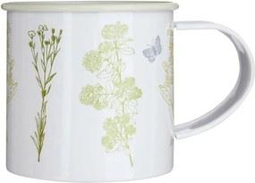 Cană metalică cu model floral Premier Housewares Finchwood, 350 ml, alb