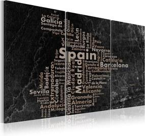 Tablou Bimago - Map of Spain on the blackboard - triptich 60x30