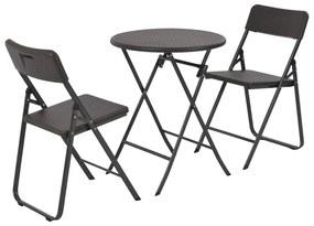 44555 vidaXL Set mobilier de bistro pliabil 3 piese maro HDPE aspect ratan