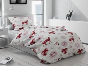 Lenjerie de pat flaneleta Crăciun Inimi si reni
