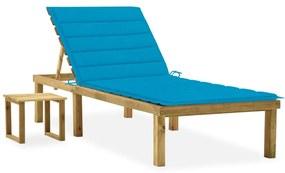 3065838 vidaXL Șezlong de grădină cu masă și pernă, lemn de pin tratat