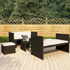 48132 vidaXL Set mobilier de grădină cu perne, 5 piese, negru, poliratan