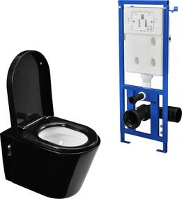[neu.haus]® WC ceramica modern de perete - vas WC (negru) cu rezervor apa
