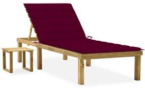 3065843 vidaXL Șezlong de grădină cu masă și pernă, lemn de pin tratat