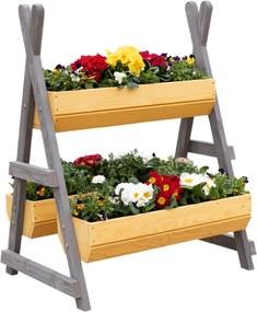 Suport pentru flori din lemn, natural / gri, BERON