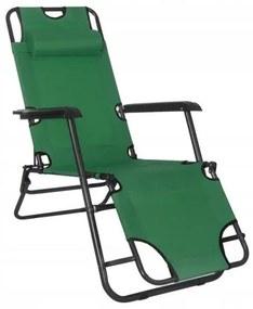 Sezlong pentru gradina, metalic, reglabil, verde, 120x60x80 cm, Springos