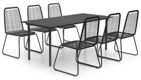 3060134 vidaXL Set mobilier de grădină, 7 piese, negru, ratan PVC