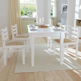 242031 vidaXL Scaune de bucătărie, 4 buc., alb, lemn masiv hevea & catifea