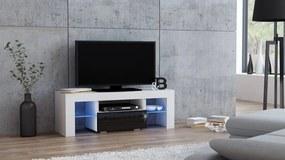 Mazzoni Masă RTV MILANO 110 + LED alb/negru, cu sertar