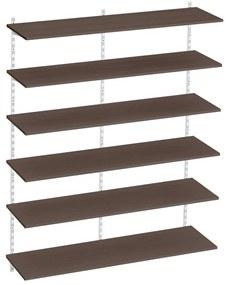 Raft modular Sigma 6P, 120x30x200 cm, Metal/PAL Alb/Wenge