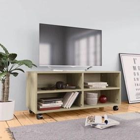800183 vidaXL Comodă TV cu rotile, stejar Sonoma, 90x35x35, PAL