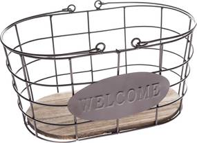 Coș metalic oval Welcome, 30 x 15 x 18 cm