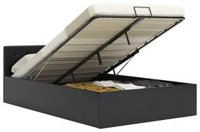285512 vidaXL Cadru pat hidraulic, depozitare, negru, 120 x 200 cm piele eco