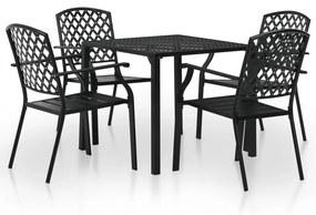 Set mobilier de exterior, 5 piese, plasă din oțel, negru