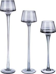 Set 3 sfesnice pentru lumanari din sticla gri Ellen Ø 6.5 cm x 35 h
