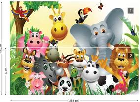 Fototapet GLIX - Cartoon Animals Elephant Tiger Cow Pig + adeziv GRATUIT Tapet nețesute - 254x184 cm