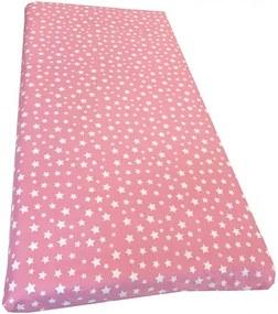 Cearsaf cu elastic pe colt 120x60 cm Stelute albe pe roz