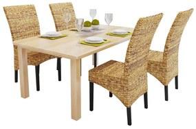 274200 vidaXL Scaune de bucătărie, 4 buc., abaca & lemn masiv de mango