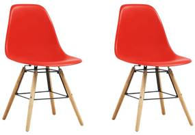 248271 vidaXL Scaune de bucătărie, 2 buc., roșu, plastic