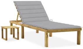 3065835 vidaXL Șezlong de grădină cu masă și pernă, lemn de pin tratat