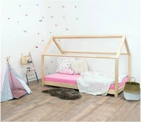 Pat pentru copii, din lemn natural de molid fără bariere de protecție laterale Benlemi Tery, 80 x 160 cm