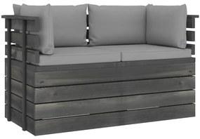 3061732 vidaXL Canapea grădină din paleți, 2 locuri, cu perne, lemn masiv pin