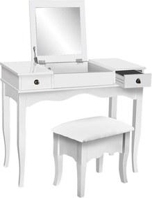 Set Isabela Masă de toaletă pentru machiaj cu scaun, oglindă, 2 sertare și spațiu de depozitare, Alb
