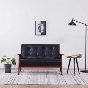 248642 vidaXL Canapea cu 2 locuri, negru, piele ecologică