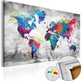 Tablou din plută - World Map: Grey Style 120x80 cm