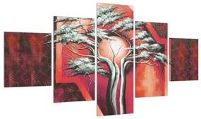 Tablou oriental roșu cu pom și soare (125x70 cm), în 40 de alte dimensiuni noi