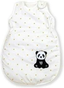 AMY - Sac de dormit fara maneci Golden Dot Panda Cu broderie, 86 cm, 80x52 cm
