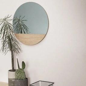 Oglinda Rotunda cu Lemn de Stejar - Lemn Natur dia. 50 cm