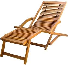 41806 vidaXL Șezlong cu suport pentru picioare din lemn de acacia